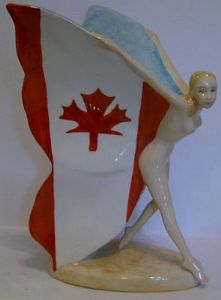 Carlton Ware Large Butterfly Girl - Canadian Flag - SOLD